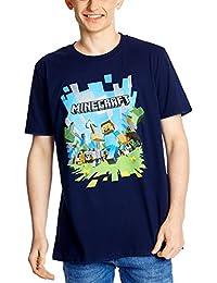 T-shirt culte Minecraft avec motif d'explosion à l'avant, monde anguleux, mode d'été - Couleur bleu marine
