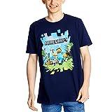 Minecraft Aventura Gran Frente de impresión Camiseta Azul Oscuro para Aficionados a los Juegos - XXL