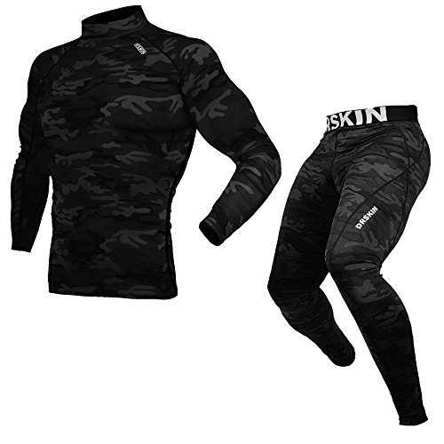 [DRSKIN] Compression Base Layer Long Sleeve Under Shirt & Pants (L, DMSMBB)