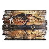 Kreative Feder Afrika Sonnenaufgang Designer Schlüsselbrett, Hakenleiste Landhaus Style, Shabby aus Holz 30x20cm, HSB110