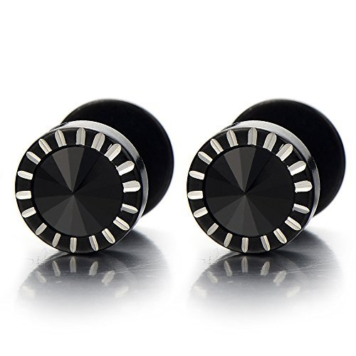 8mm Mens Black Stud Earrings Stainless Steel Cheater Fake Ear Plugs Gauges with Spike Black CZ, 2pcs
