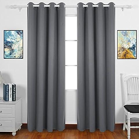 zhihong isoliert Top Ring/Öse Fenster Verdunklungsvorhänge, 2Platten, grau, 52x88in