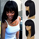 QD-Tizer Natural Soft Bob Wigs with Bangs Synthetic Full Hair Wig Black Short Straight Hair Heat Resistant Fiber Wigs for Women 14 inch