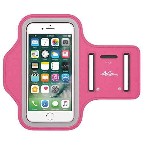 Moko bracciale sportivo per iphone 8, iphone 7, galaxy s9, s8, s7 edge - fascia da braccio per corsa e palestra, con slot portachiavi, resistente a sudore, magenta