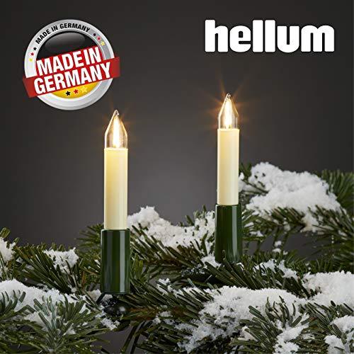 Hellum Lichterkette außen / 20 LED-Filament warm-weiß Schaftkerzen/Länge 19 m + 2x1,5 m Zuleitung, schwarzes Gummi-Kabel/Fassungsabstand 100 cm/teilbarer Stecker/Weihnachten / 845556