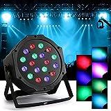 JUDYelc LED Parabolischer Aluminium Reflektor 7 Farben Lichter für Bühne blinken mit 4 Arbeitsmodellen RGB Poweful Bühnenlampe für DJ Club