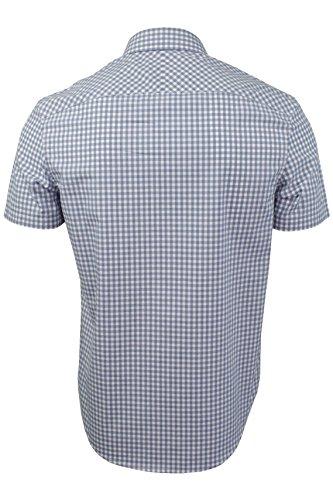 Herren Gingham Hemd von Original Penguin `Jaspe` kurzärmlig Monaco Blue