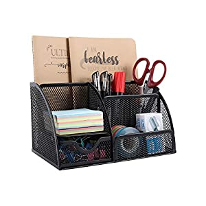 EasyPAG Mesh Office Stationery Desk Tidy Organiser 5 Storage Compartment and 1 Drawer with Non-marking Rubber Pads ,Black