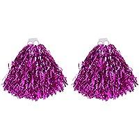 VORCOOL Pompones de porristas, un par de anillos de plástico de 50 g. Equipo de animación para la competencia tanto de la universidad infantil como de la escuela secundaria. Eventos deportivos de animación (Rosy)