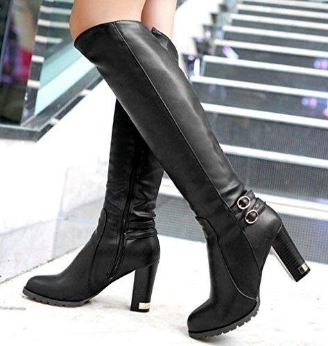 CYGG Stivali al ginocchio da donna con tacco alto Stovepipe Style Plus Boots in velluto di grandi dimensioni 40.41.42.43 black