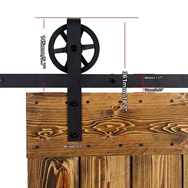 Kit Porte Coulissante Roulette Et Rail Ccjh 6.6ft-200cm Quincaillerie Kit De Rail Roulettes Pour Porte Coulissante  Hardware Pour Une Porte ...