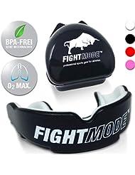 Fight Mode®, paradenti, colore nero, con custodia e eBook, regolabile per adulti, ottima scelta per gli sport di lotta, come boxe, kick boxe, MMA, muay thai, football americano e hockey su ghiaccio
