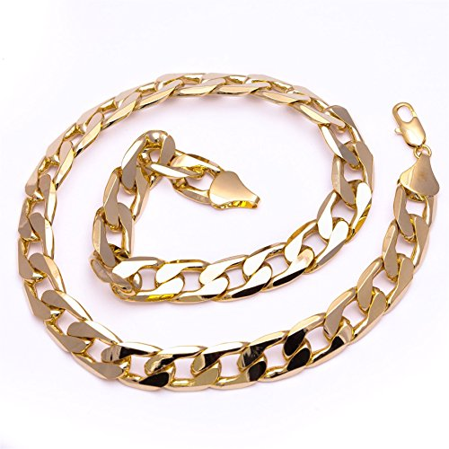 Bling King Men's Luxury 18k Gold Plated 13mm Bling Solid Curb Chain Necklace sseAPrcX