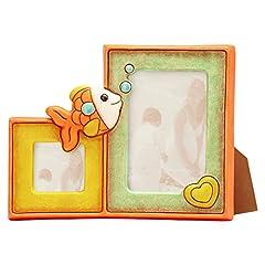 Idea Regalo - Thun Baby Portafoto Doppio Pesciolino, Ceramica, 23.6 x 28.5 x 5.3 cm