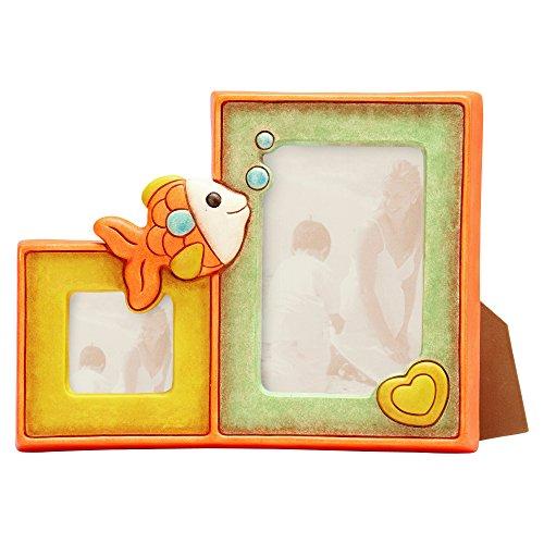 Thun baby portafoto doppio pesciolino, ceramica, 23.6 x 28.5 x 5.3 cm