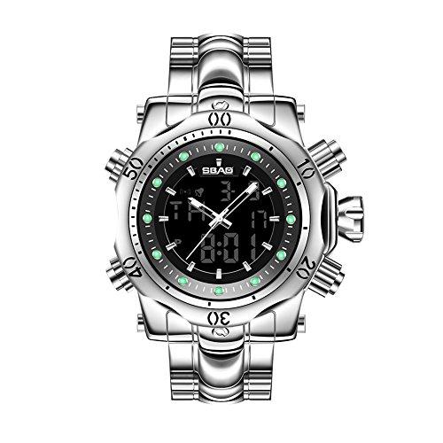 SW Watches Sport-Digitaluhren der Männer - Wasserdichte Sport-Armbanduhren Im Freien mit Stahlbügel, LED-Hintergrundbeleuchtung, Große Gesichts-Uhr,Silver