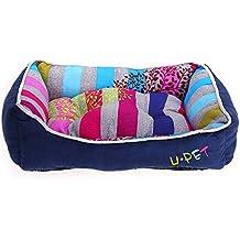 Cama / Cuna / Cojín / Caseta para perros, cuadrada y de tela de algodón, con rayas multicolores (Color azul zafiro)