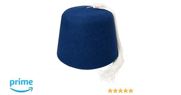 433018b553192 Village Hats Blue Fez with White Tassel  Amazon.co.uk  Clothing