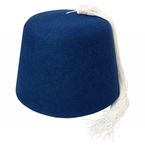 b3a5e2d5ef104 Village Hats Blue Fez with White Tassel X-Large