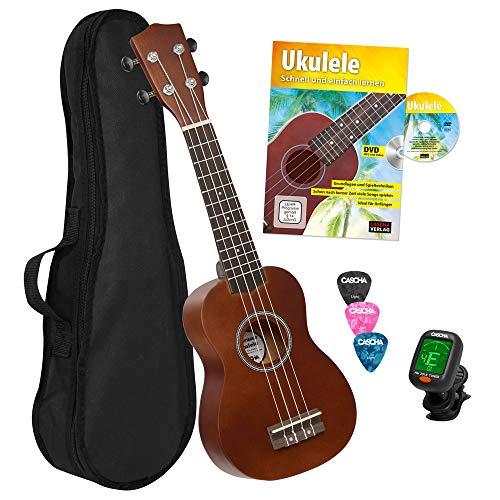 CASCHA HH 3956 DE Sopran Ukulele Bundle mit Schule, Stimmgerät, Tasche, 3 Picks und Aquila Qualitäts-Saiten