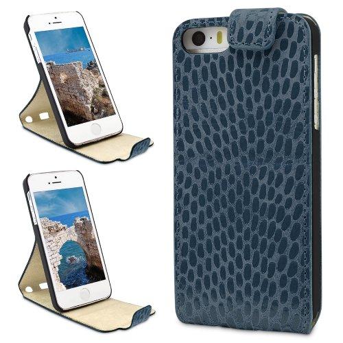"""PLM """"Anamur"""" Python Braun Apple iPhone 5S, iPhone 5 Flip Case Ledertasche Hülle Tasche Cover - Mit 2-stufiger Aufstellfunktion Pitone -  Mirage"""