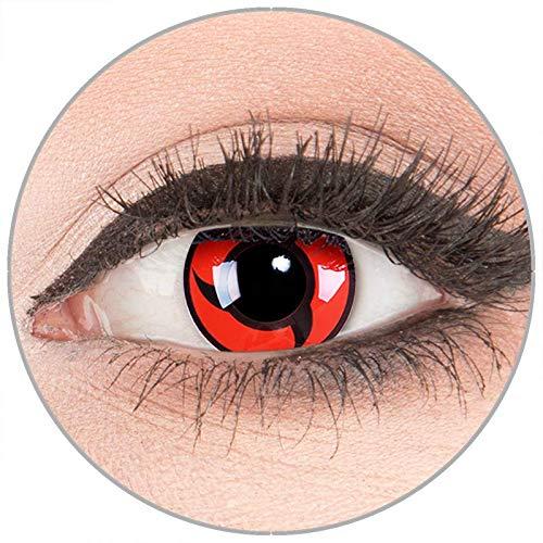 Farbige Kontaktlinsen zu Fasching Karneval Halloween in Topqualität von 'Glamlens' ohne Stärke 1 Paar Crazy Fun rote schwarze 'Itachi' mit ()