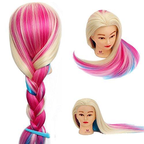 Neverland 60cm 100% Synthetisches Haar Trainingsköpfe für Friseure Übungskopf Friseurkopf Friseursalon Puppenkopf Schminkkopf Friseur Mannequin kopf Mit Halter #2