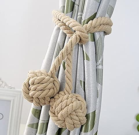 Fittoway A Pair of Fine Hand Tied Curtain Clip Drapery Tassels Curtain Tiebacks/Tassel Window Cotton Rope Tie Ball Back Accessories Double Ball (Beige)
