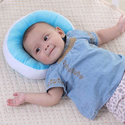 KAKIBLIN Oreiller bébé Nouveau-né Anti Tête Plate à Memoire de Forme Ergonomique Morphologique Ultra Souple Bourré de Soie, Bleu