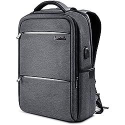 Inateck Mochila para portátiles laptop de 15.6 pulgadas con enchufe carga USB y protección anti-lluvia impermeable