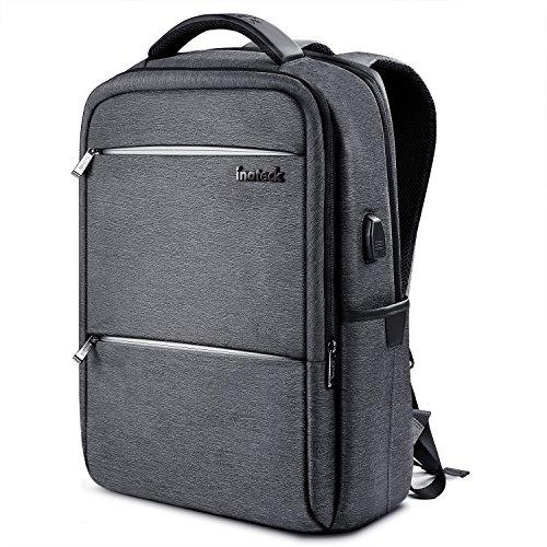 Inateck Zaino per laptop da 15 pollici anti borseggio anti graffio con presa ricarica USB e telo antipioggia impermeabile - Grigio scuro