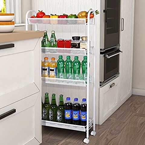 Lifewit 4-Tier Gap Storage Trolley Rolling Cart with Omnidirectional Casters, Slim Slide-out Tower Rack for Kitchen / Bathroom / Laundry Room / Pantry Organization,