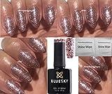 Bluesky, Gel-Nagellack, Glitter, Glitzer, Aushärtung unter LED-/UV-Licht, 2 LuvliNail-Glanztücher, S06N, Pink Rose