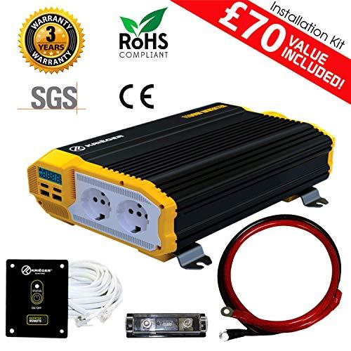 Kriëger 1500 Watt 12V invertitore di Potenza Dual 110V AC Outlets, Kit di Installazione Incluso, automobilistico Alimentazione di Backup per frullatori, aspiratori, elettroutensili incontrat