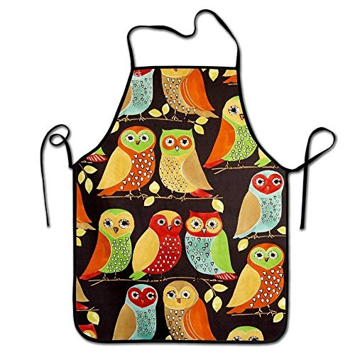 tsyhtshehs Adjustable Professional Kitchen Apron-Fall Owls -Woman Aprons Comfortable Perfect for Cooking Guide -