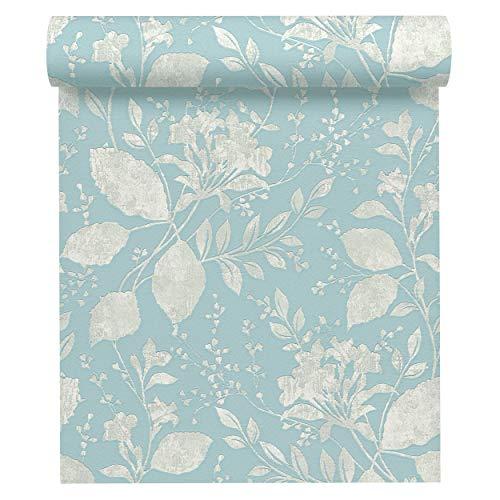 A.S. Création Vliestapete Memory 3 Tapete mit Blumen floral 10,05 m x 0,53 m blau grau metallic Made in Germany 329862 32986-2