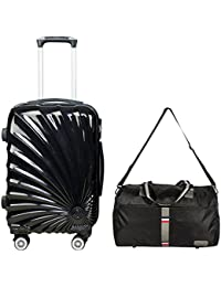3G 8019 Series Cabin Size Shinny 20inch Suitcase With Trolley And Duffle Bag (Black)