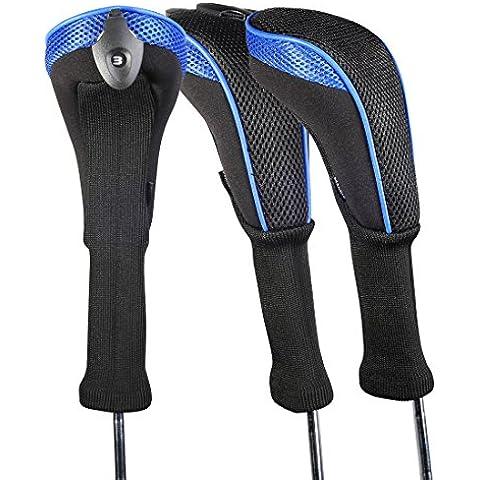 Andux 3 piezas funda de palo de golf híbridos con intercambiable No. etiqueta CTMT-01 (Blue)