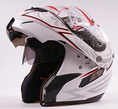 MRC, casco da moto modulare flip-up con visore doppio frontale a viso scoperto/integrale, colore bianco