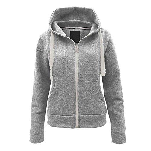 Momo&Ayat Fashions Girls Boys Girls Plain Hoodie Sweatshirt Fleece Lined Jacket Age 3-13 Years (Age 7-8 Years, Grey)