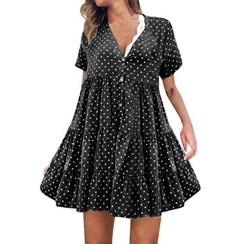 Frauen Sommer Casual T-Shirt Kleider Frauen Sexy Mode V-Ausschnitt Polka Dot Printed Kurzarm Kleid -