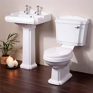 traditionelle designer luxus 2 st cke badezimmer waschbecken f r suite wc keramik mit weichem. Black Bedroom Furniture Sets. Home Design Ideas