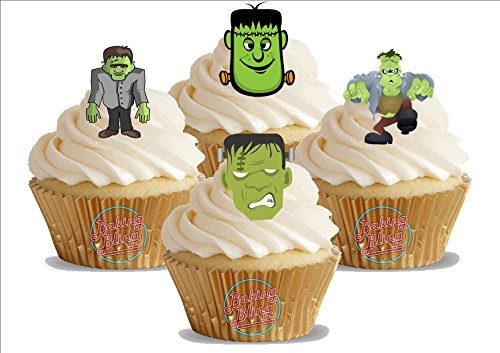 HALLOWEEN Frankenstein Mix 12 essbare Standup Kuchen-Deko, Kuchendekorationen, essbar, Premium, 2 x A5, für 12 Bilder