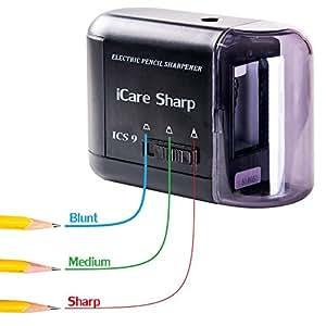 iCare Sharp Taille crayon électrique haute Qualité Fonctionne sur secteur ou piles. Adaptateur Alimentation RU gratuit inclus. Rasoir tranchant vertical lame hélicoïdale. Technologie japonaise.