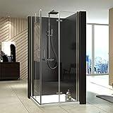 Meykoe Duschkabine 80x90x195cm Duschabtrennung Falttür Duschtür Duschwand 6mm Sicherheitsglas Nano Beschichtung Nach innen und nach außen