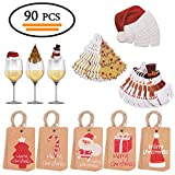 Vibury 90 Stück Weihnachtsschmuck Karten - 40 Stück Weinglas Tischkarten + 50 Stück Kraftpapier Etiketten Tags mit 10m Jute