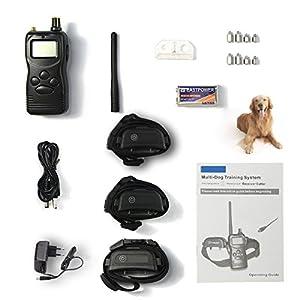 Multi-chien Collier de dressage avec 1000m Télécommande pour 3 Chiens, 3 combinaisons de mode dans un Systerm