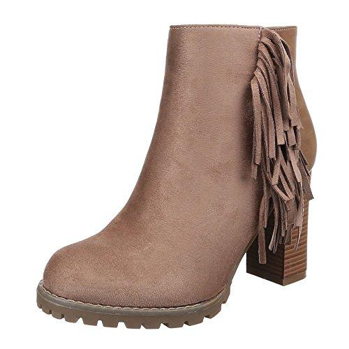 Damen Schuhe, C237, STIEFEL FRANSEN BOOTS Hellbraun