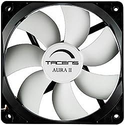 Tacens 3AURAII - Ventilador para ordenador (9 cm, 12dB, 1500 RPM, Tecnología Fluxus II, sistema antipolvo, aspas aerodinámicas, duración de 60.000h) color negro
