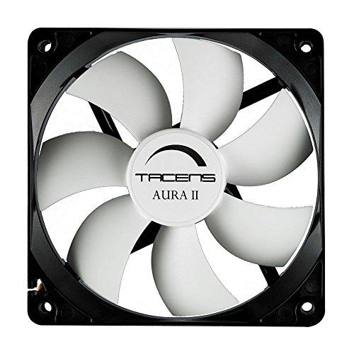 Tacens 3AURAII - Ventilador para ordenador (8cm, 10dB, 1500 RPM, Tecnología Fluxus II, sistema antipolvo, duraciónde 60.000h) color negro